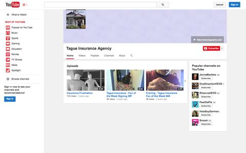 Screenshot of YouTube Page youtube.com - Tague Insurance Agency  - YouTube - captured Oct. 27, 2014