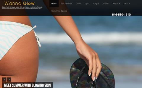 Screenshot of Home Page wannaglow.com - Wanna Glow - Laser hair removal and laser skin treatment in Midtown Manhattan, New York - captured Sept. 30, 2014