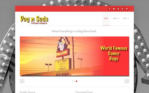 Screenshot of Home Page ourdognsuds.com - Lafayette Dog n Suds Drive-in Restaurant - captured Oct. 5, 2014