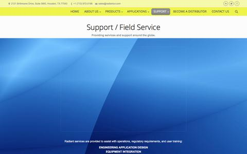Screenshot of Support Page radiantuv.com - Radiant Industrial Solutions     SUPPORT - captured Feb. 13, 2016