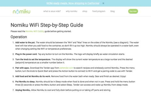 Screenshot of nomiku.com - Nomiku WiFi Step-by-Step Guide | Nomiku - captured Aug. 6, 2017