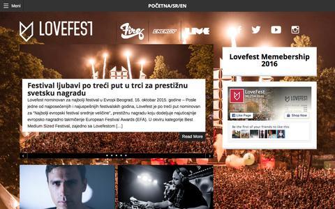 Screenshot of Home Page lovefest.rs - Lovefest 2015 - - captured Dec. 13, 2015