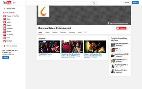 Screenshot of YouTube Page youtube.com - Common Colors Entertainment  - YouTube - captured Oct. 27, 2014