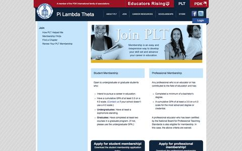 Screenshot of Signup Page pilambda.org - Join   Pi Lambda Theta - captured June 2, 2016