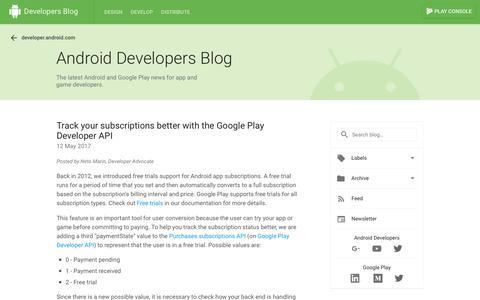 Screenshot of Trial Page googleblog.com - Android Developers Blog: free trial - captured Jan. 1, 2018
