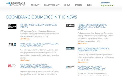 Screenshot of Press Page boomerangcommerce.com - Boomerang Commerce - captured Sept. 19, 2014