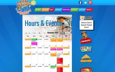 Screenshot of Hours Page saharasams.com - Hours of Operation & Special Events | Sahara Sam's Oasis - captured Nov. 18, 2016