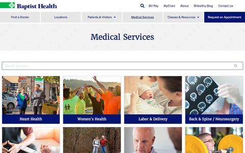 Screenshot of Services Page baptist-health.com - Medical Services - Baptist Health - captured Aug. 21, 2019