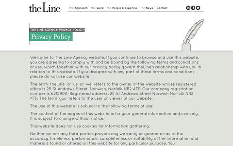 Screenshot of Privacy Page thelineagency.co.uk - The Line Agency | Privacy Policy - captured Sept. 30, 2014