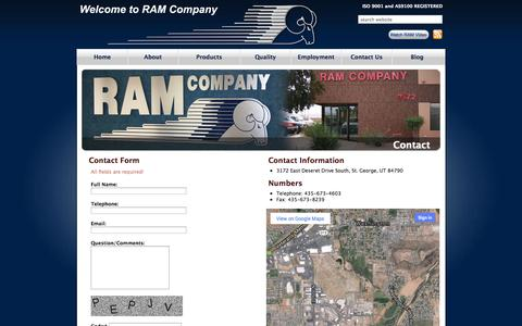 Screenshot of Contact Page ramcompany.com - Contact | Ram Company - captured Oct. 27, 2014