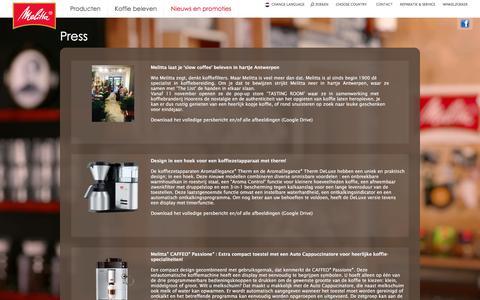 Screenshot of Press Page melitta.be - Press releases - Melitta - captured Jan. 13, 2017