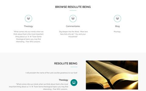 Screenshot of Home Page resolutebeing.org - Resolute Being – I will proclaim the name of the Lord; ascribe greatness to our God! - captured Feb. 25, 2016