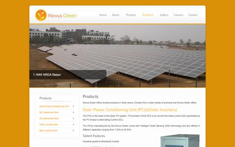 Screenshot of Products Page novusgreen.in - Novus Green Products - captured Oct. 6, 2014