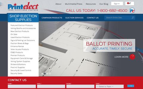 Screenshot of Home Page printelect.com - Election Products & Voting Accessories | Shop at Printelect - captured July 24, 2015