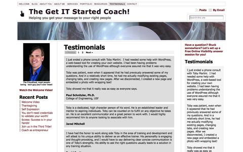 Screenshot of Testimonials Page getitstartedcoach.com - Testimonials « The Get IT Started Coach! - captured Oct. 2, 2014