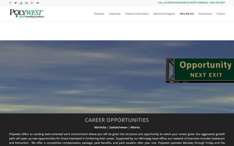 Screenshot of Jobs Page polywest.ca - Polywest Ltd. |   Career Opportunities - captured Jan. 29, 2016