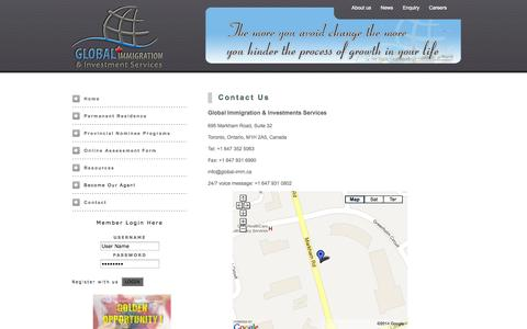 Screenshot of Contact Page global-imm.ca - Global Immigration & Investment Services - captured Oct. 2, 2014