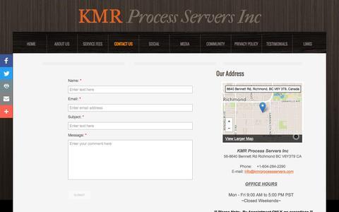 Screenshot of Contact Page kmrprocessservers.com - KMR Process Servers Inc, Vancouver, Richmond, Surrey, Delta, Langley, Abbotsford, Burnaby British Columbia - captured Nov. 27, 2016