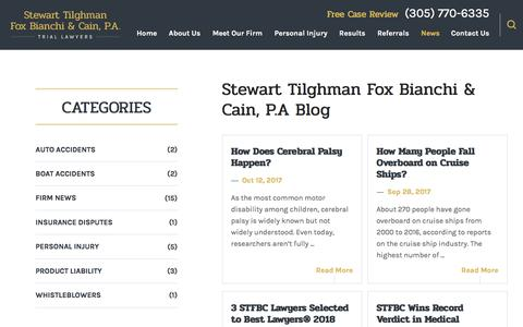 Screenshot of Press Page stfblaw.com - Personal Injury Blog | Trial Lawyer in Miami - captured Oct. 25, 2017