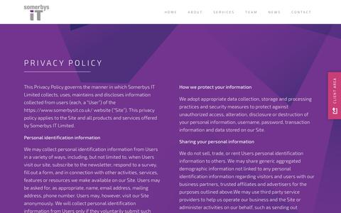 Screenshot of Privacy Page somerbysit.co.uk - Privacy Policy - Somerbys IT - captured Oct. 19, 2018