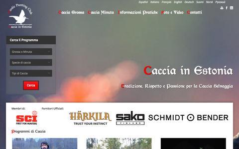 Screenshot of Home Page Menu Page cacciainestonia.com - Caccia in Estonia tutti i giorni dell'anno, vieni a cacciare nel nord Europa - captured Sept. 26, 2014