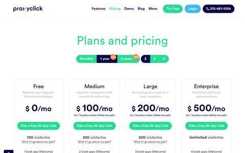 Screenshot of Pricing Page proxyclick.com - Pricing - captured Dec. 20, 2016
