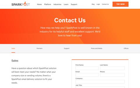 Screenshot of Contact Page sparkpost.com - Sales - SparkPost - captured June 15, 2019