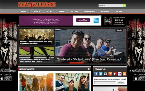 Screenshot of Home Page puregrainaudio.com - PureGrainAudio.com - Rock & Metal News, Free MP3s, Interviews, Reviews, Videos, Contests & More - captured Sept. 24, 2014