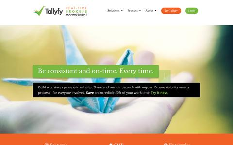 Screenshot of Home Page tallyfy.com - Track your business processes in real-time - Tallyfy - captured Nov. 3, 2015
