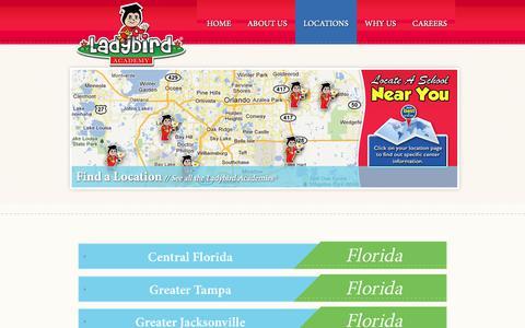 Screenshot of Locations Page ladybirdacademy.com - Orlando Daycare | Central Florida Childcare | High Quality Child Care | Ladybird Academy - captured Nov. 4, 2018