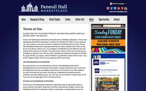 Screenshot of Terms Page faneuilhallmarketplace.com - Terms of Use :: Faneuil Hall Marketplace - captured Sept. 23, 2014