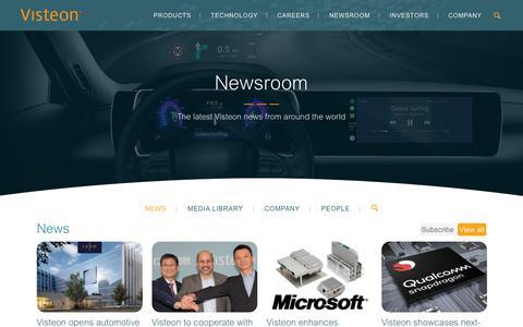 Screenshot of Press Page visteon.com - Visteon Newsroom - captured Feb. 17, 2019