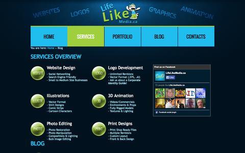 Screenshot of Services Page lifelikemedia.ca - LifeLikeMedia - Blog - captured Oct. 6, 2014