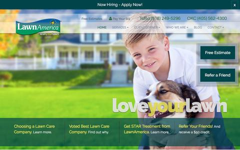 Screenshot of Home Page lawnamerica.com - Lawn Care, Landscape Maintenance | OKC, Tulsa OK | LawnAmerica - captured July 16, 2018