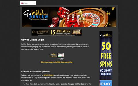 Screenshot of Login Page gowildonlinecasino.com - GoWild Casino—Login and Yield Jackpots up to $/€ 1000 - captured Aug. 23, 2017