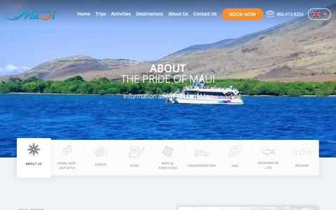Screenshot of About Page prideofmaui.com - About The Pride of Maui | Boat and Crew Information - captured May 29, 2017