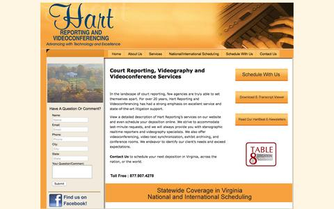 Screenshot of Home Page hartreporting.com - Virginia Court Reporter Serving Richmond, Charlottesville and Harrisonburg Virginia - captured Sept. 20, 2015