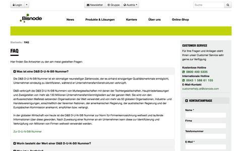 Screenshot of FAQ Page bisnode.at - FAQ - Bisnode.at - captured Nov. 3, 2014