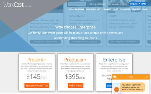 Screenshot of Pricing Page workcast.com - Webinar Packages and Pricing | WorkCast - captured Sept. 20, 2017