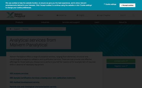 Screenshot of Services Page malvernpanalytical.com - Analytical services from Malvern Panalytical - captured Sept. 22, 2018