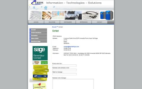 Screenshot of Contact Page itechafrique.com - Revendeur SAGE PME/MGE AFRIQUE au Sénégal/Mali - CISCO - Contact - captured Oct. 6, 2014
