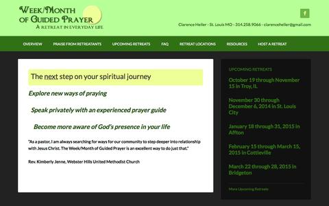 Screenshot of Home Page weekofguidedprayer.org - Week of Guided Prayer – A Retreat in Everyday Life - captured Oct. 6, 2014