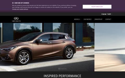 Screenshot of Home Page infiniti.eu - Infiniti: High performance cars, photos, prices of new luxury cars - captured Oct. 7, 2015