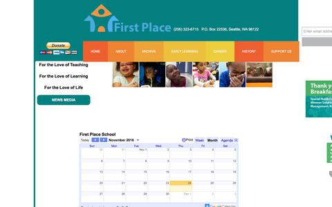 Screenshot of Home Page firstplaceschool.org - Home - captured Nov. 25, 2016