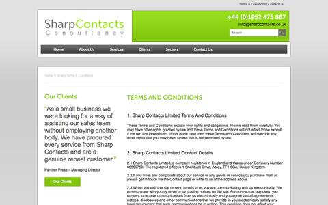 Screenshot of Terms Page sharpcontacts.co.uk - Sharp Terms & Conditions | Sharp Contacts - captured Oct. 9, 2014