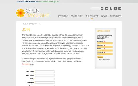 Screenshot of Signup Page opendaylight.org - Join | OpenDaylight - captured Sept. 19, 2014