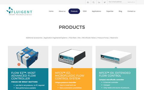 Screenshot of Products Page fluigent.com - Microfluidic Products - Pressure pumps and Flow-rate control | Fluigent - captured June 6, 2017