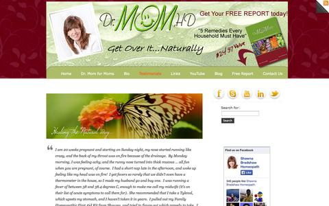 Screenshot of Testimonials Page drmomhd.com - Testimonials «  Dr. Mom hd - captured Oct. 5, 2014