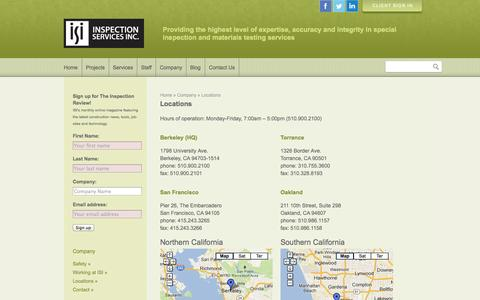 Screenshot of Locations Page inspectionservices.net - Locations - captured Oct. 6, 2014