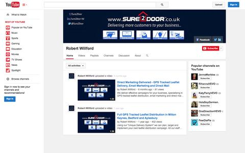 Screenshot of YouTube Page youtube.com - Robert Willford  - YouTube - captured Nov. 4, 2014